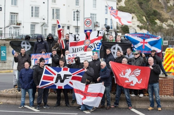 Fascists in Dover recently, displaying 2 Celtic Cross flags.