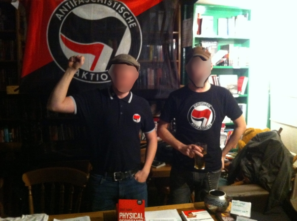 The popular Brighton Antifascists merch stall.