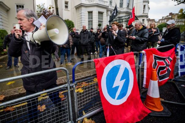The Circled Flash on display at a fascist demo outside the Greek Embassy, London, 2013.