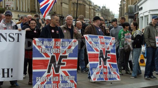 The National Front displaying the 14 words in Newcastle.