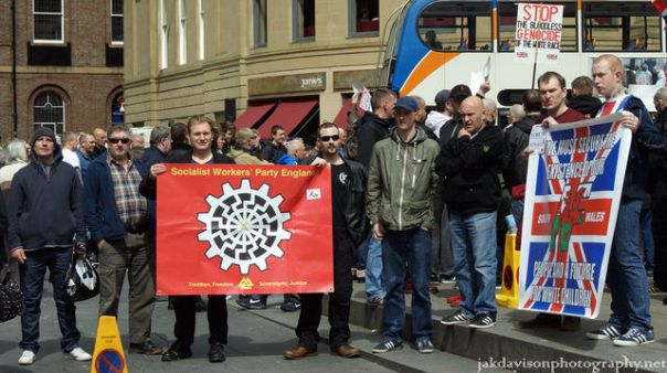 The Sun Wheel in use at a fascist demo in Newcastle last year.